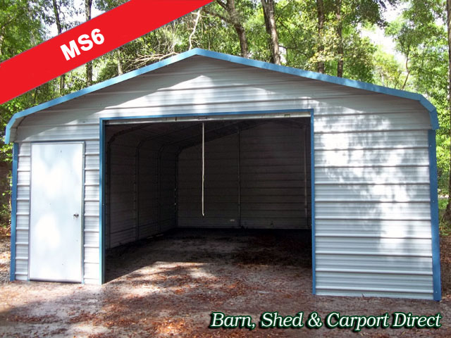 Fully Enclosed Metal Shed : 18\' x 21\' x 7\'